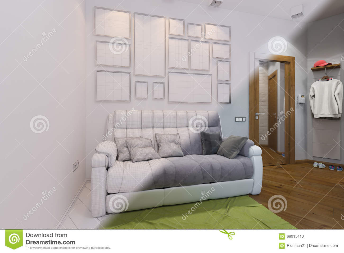 3d render of living room and hall interior design in a modern st