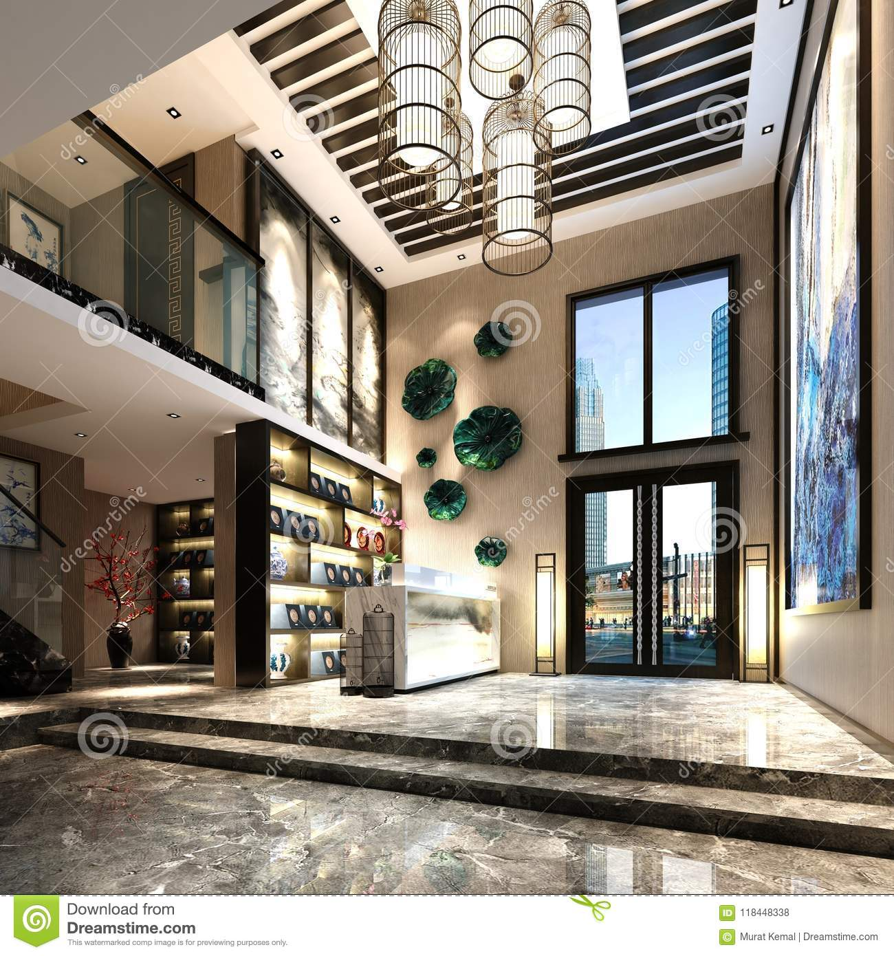 Luxury Apartment Building Entrance: 3d Render Of Luxury Building Entrance Stock Illustration
