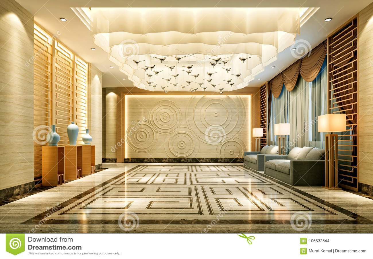 3d Render Of Luxury Hotel Interior