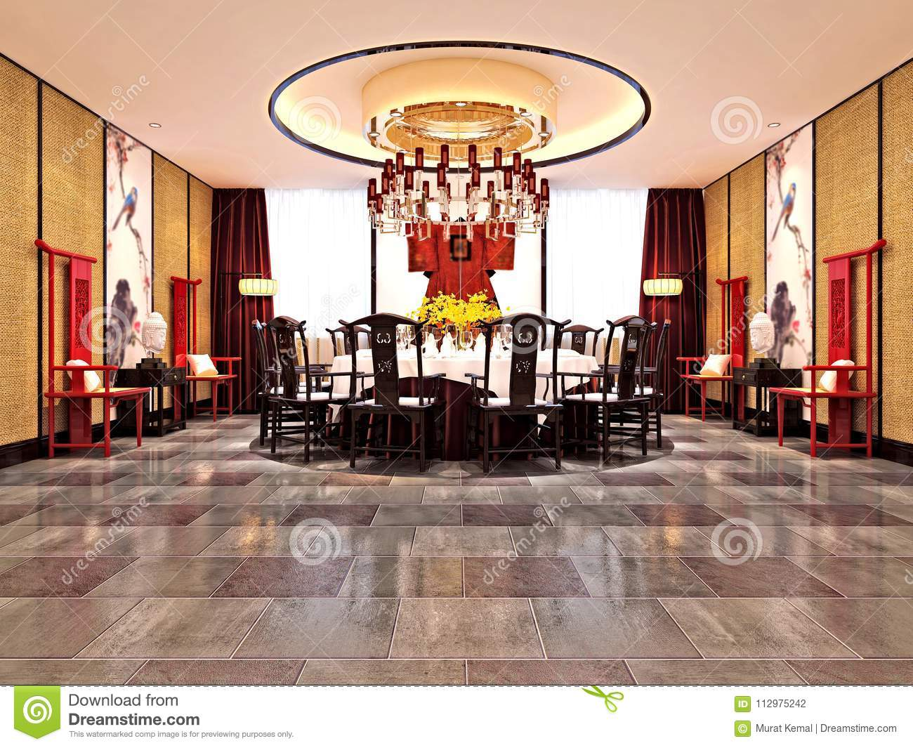 3d Render Of Luxury Dining Room