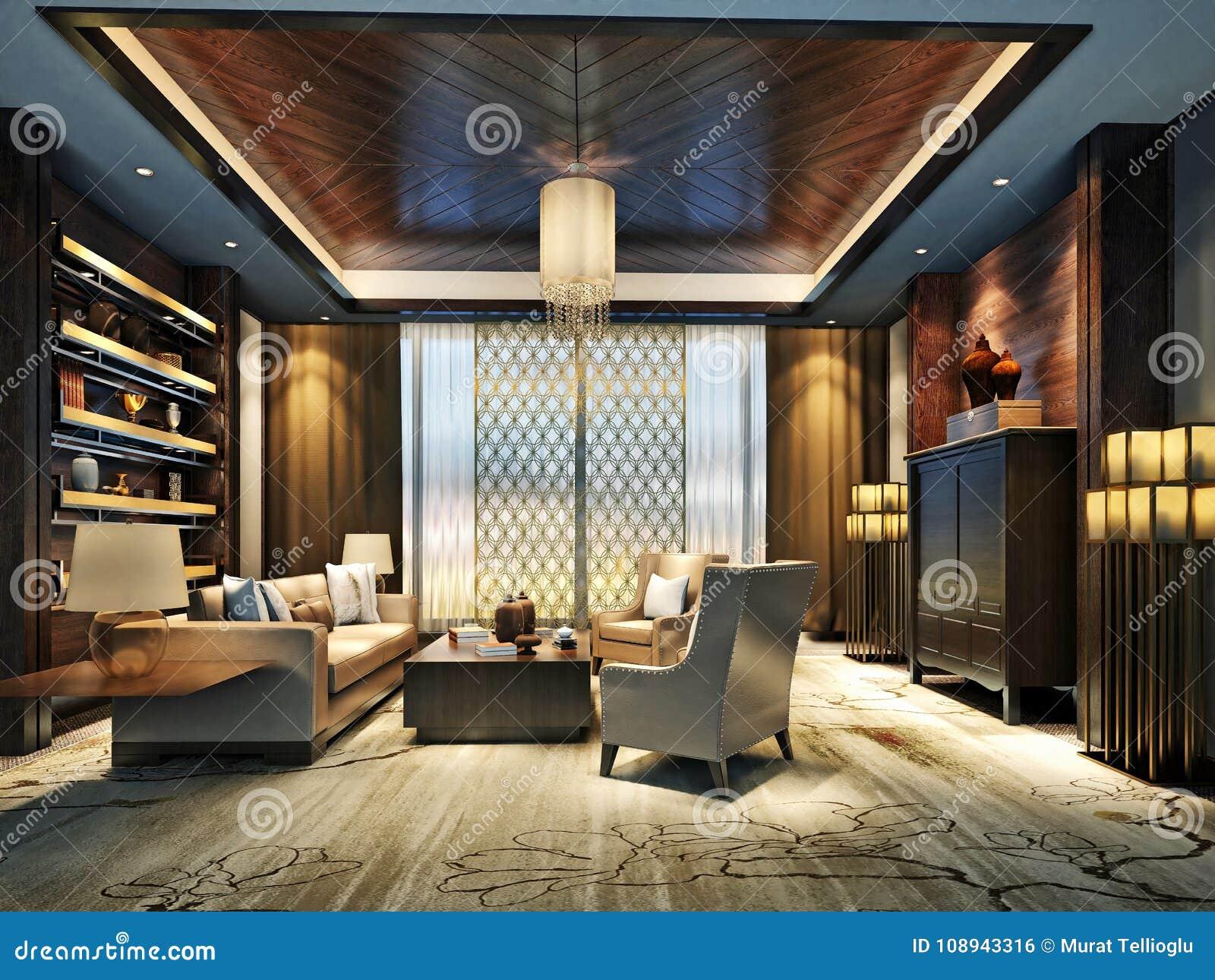 3d Render Of Modern Office Sitting Space Stock Illustration Illustration Of Concept Hallway 108943316