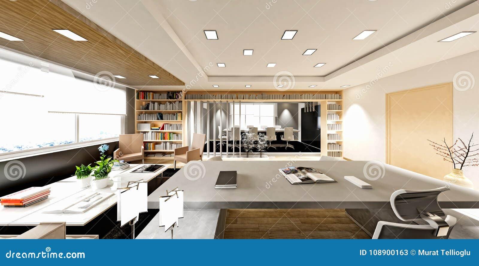 3d Render Of Modern Working Room Stock Illustration - Illustration ...