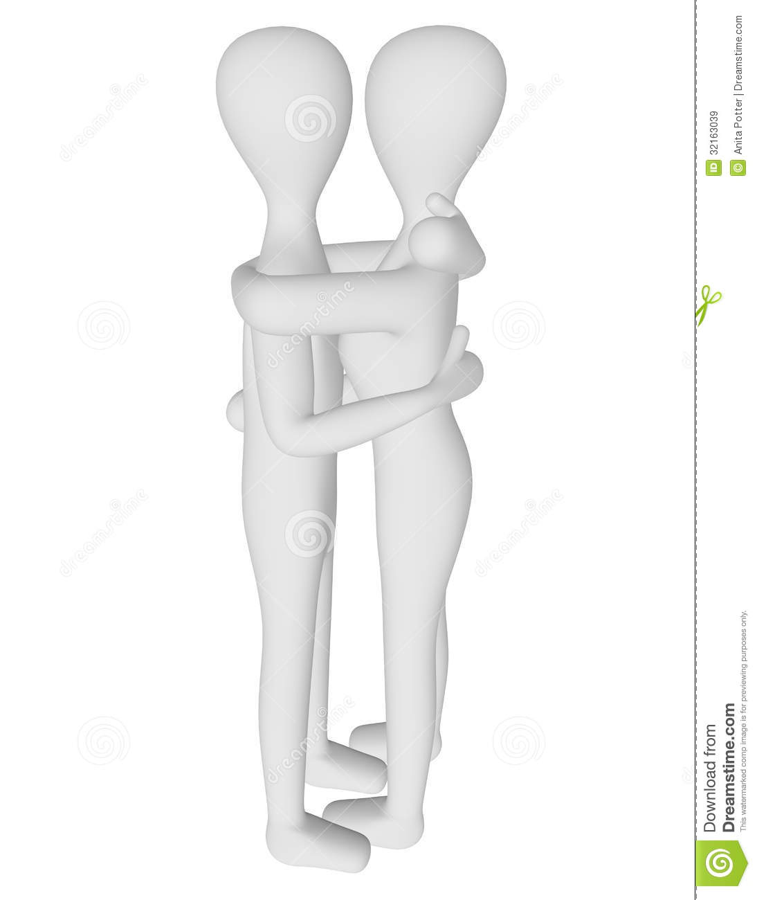 3d Render of Male and Female Characters Hugging