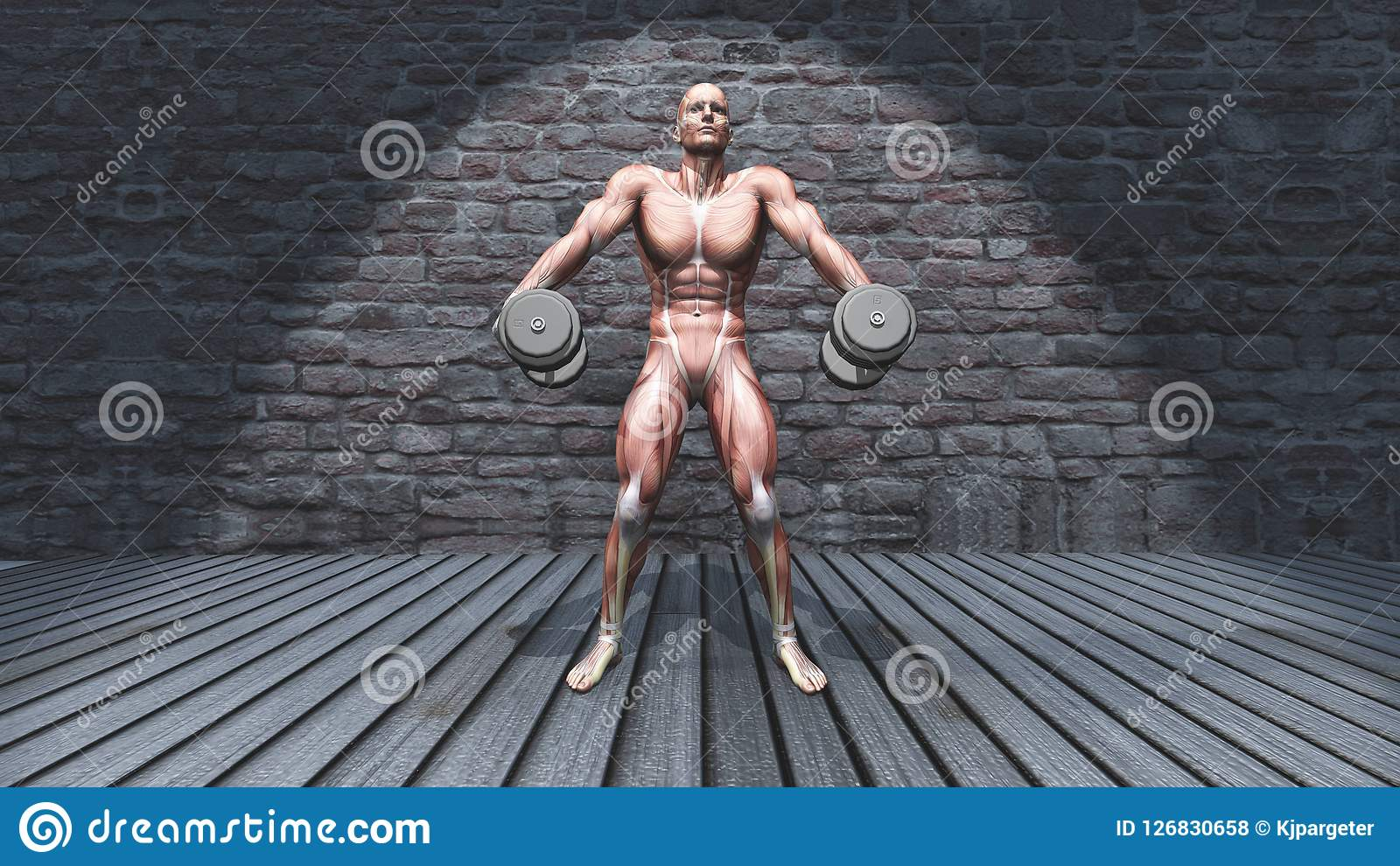 3D male figure in dumbbell shoulder shrugs raised pose in grunge