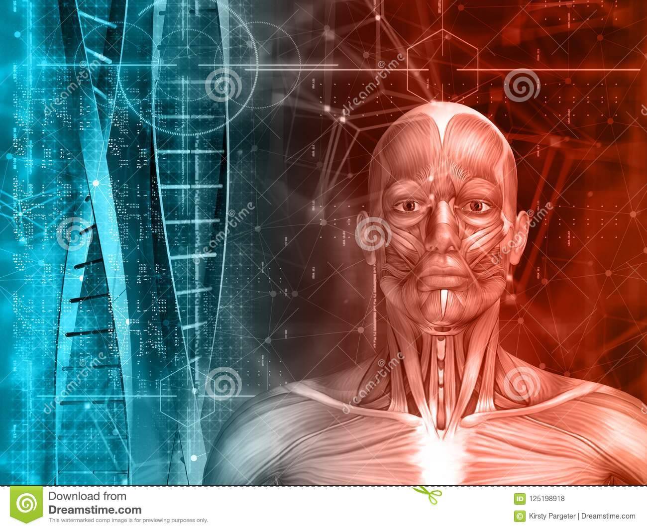 3d medical background with male figure, dna strands and code