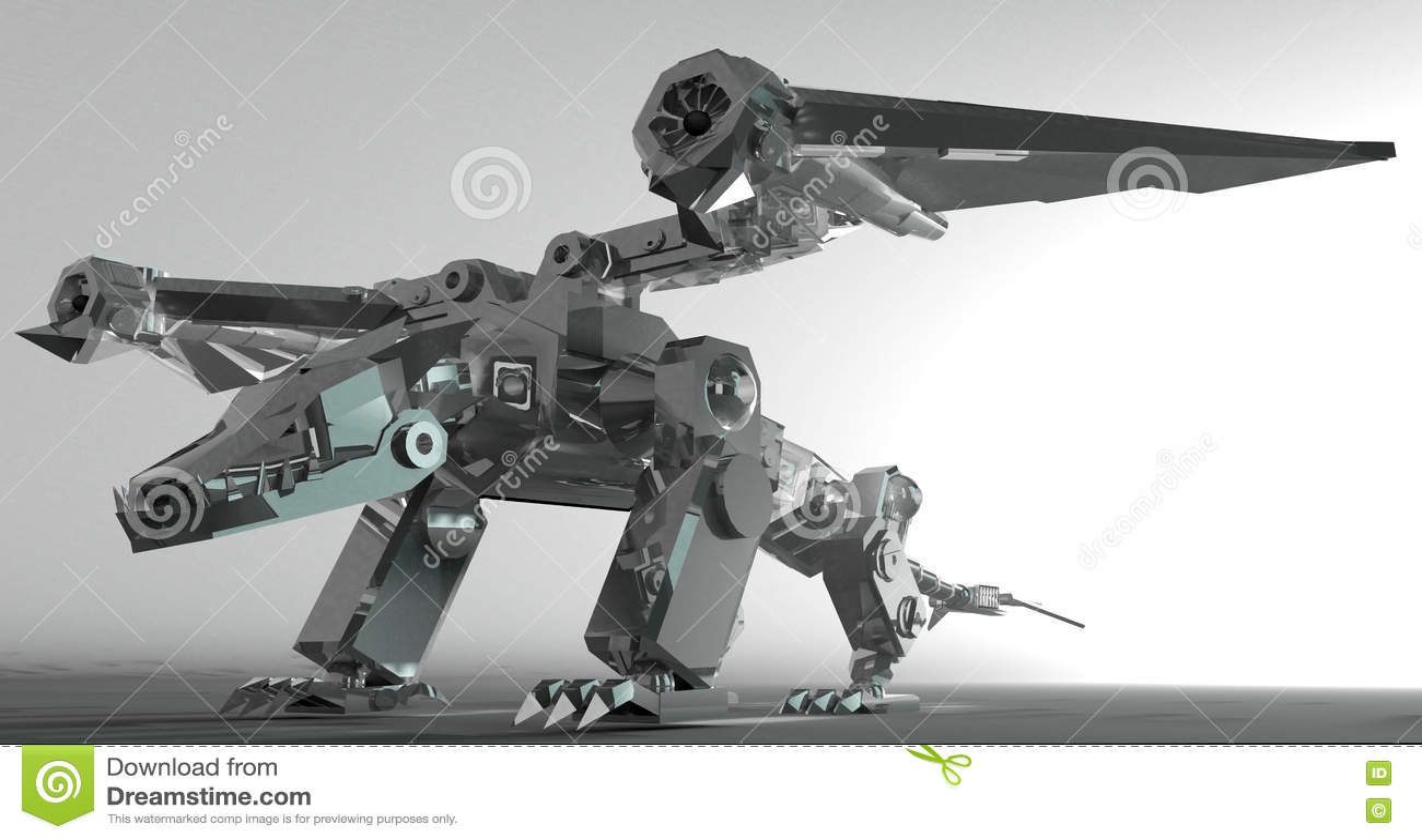 3d render of a metallic robot dragon