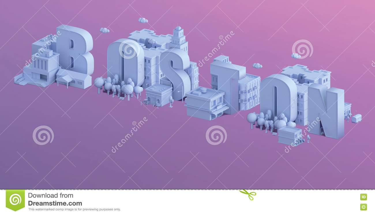 3d Render Of A Mini City, Typography 3d Of The Name Boston