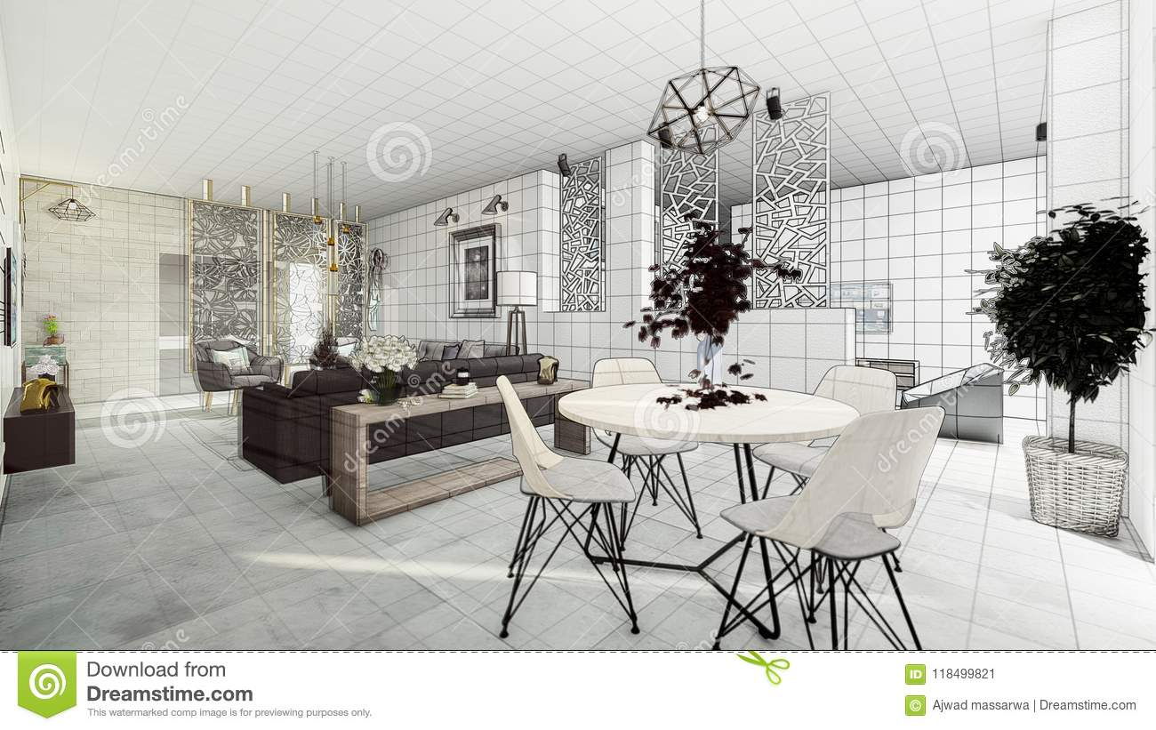 Apartment modern salon stock illustration. Illustration of concrete ...