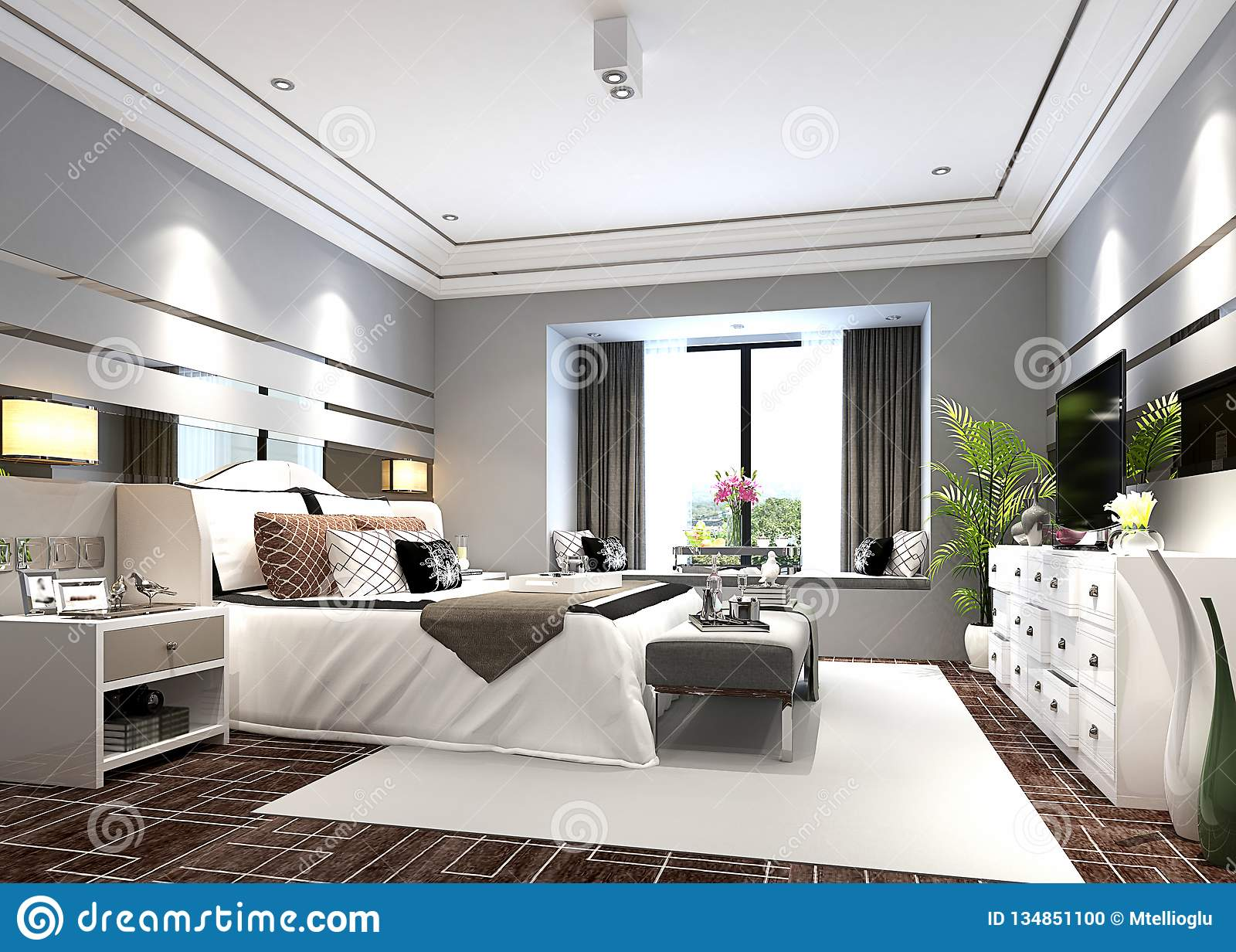 3d Render Of Modern Bedroom Stock Photo Image Of Interior