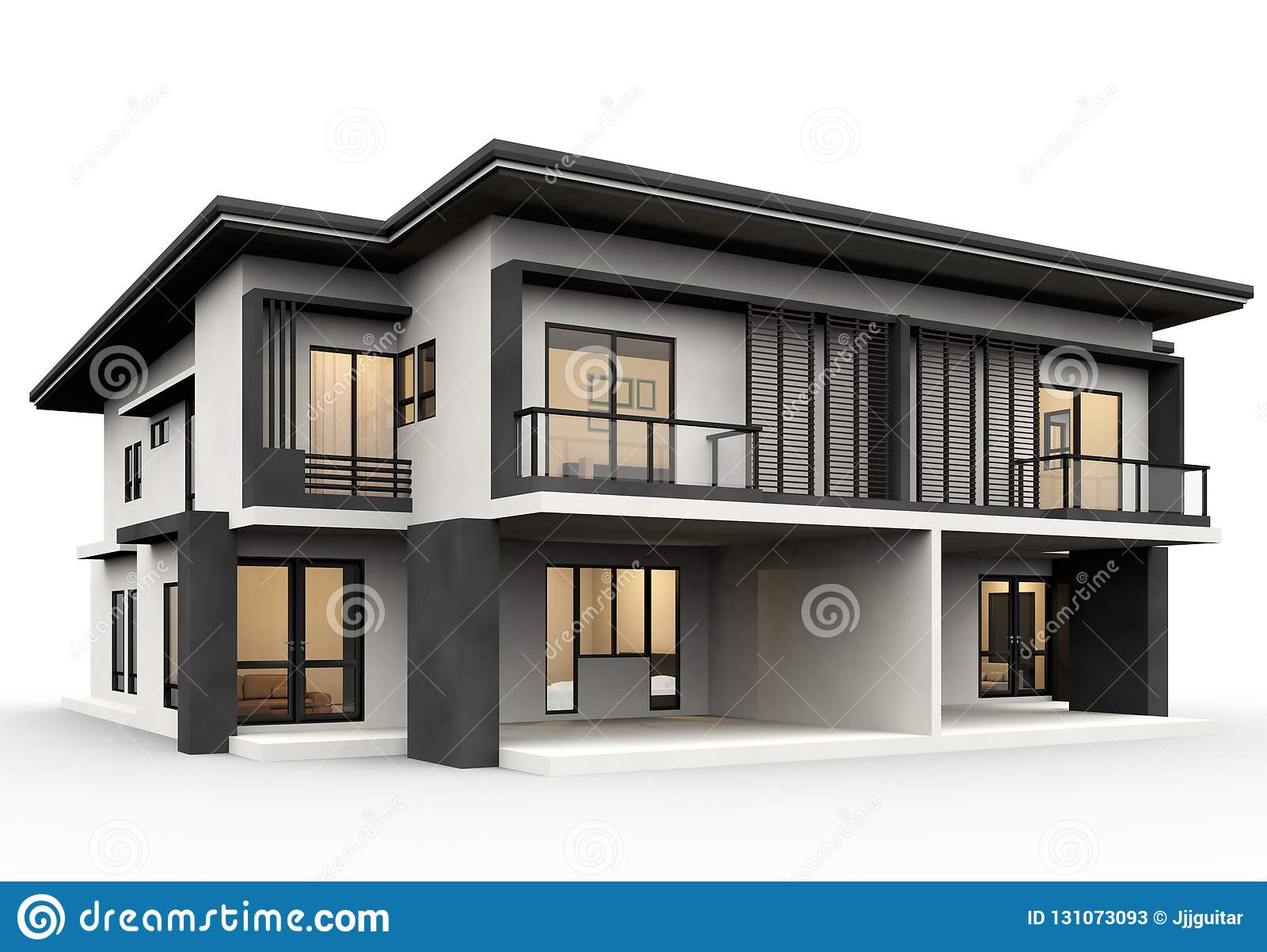 3d render of modern house isolated on a white background