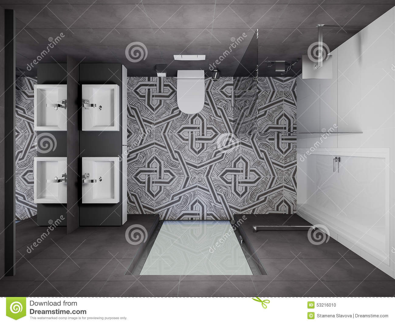 3d render modern interior of bathroom stock photo image for Bathroom designs top view