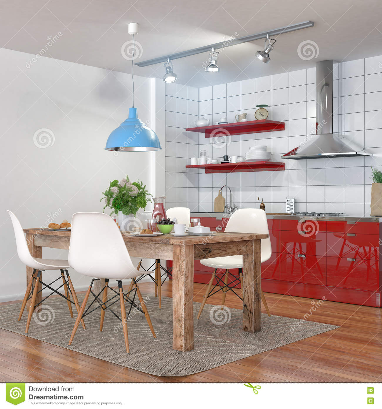 Modern Kitchen Interior With Dining Area Stock