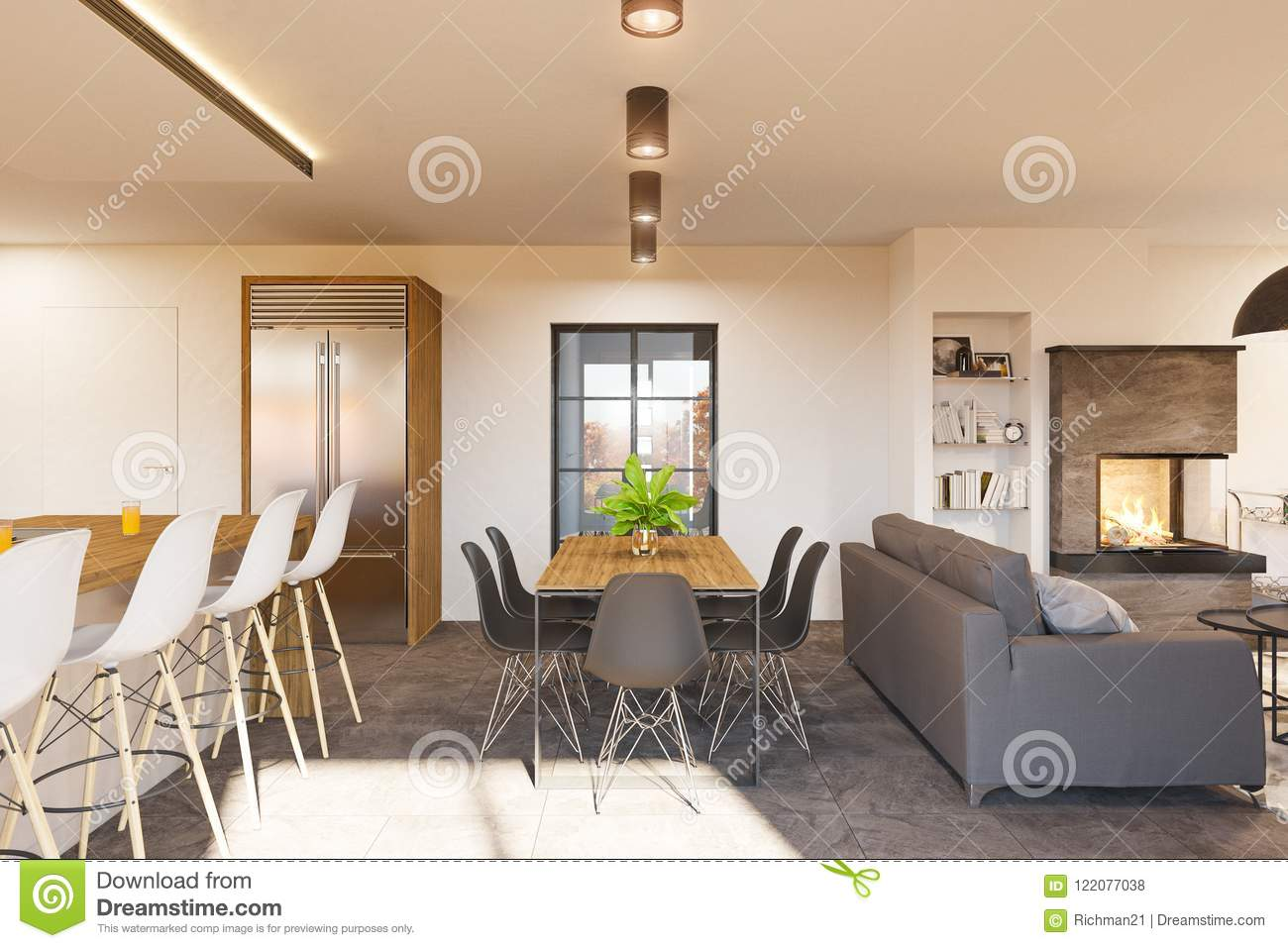3d render modern living room and kitchen interior design with fireplace stock illustration for Interior design fireplace living room