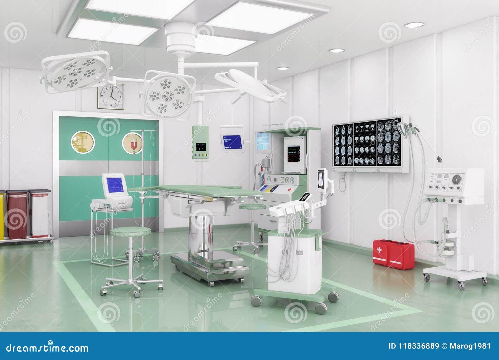 3d Render Modern Operating Theatre Stock Illustration Video Management System