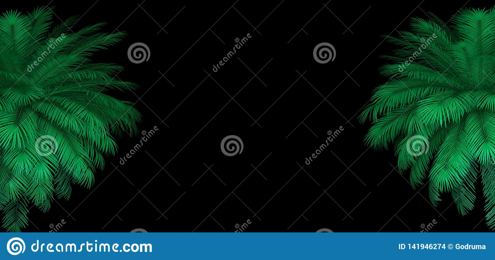 3d Render Of Neon Palm Leaves On The Black  Banner Design
