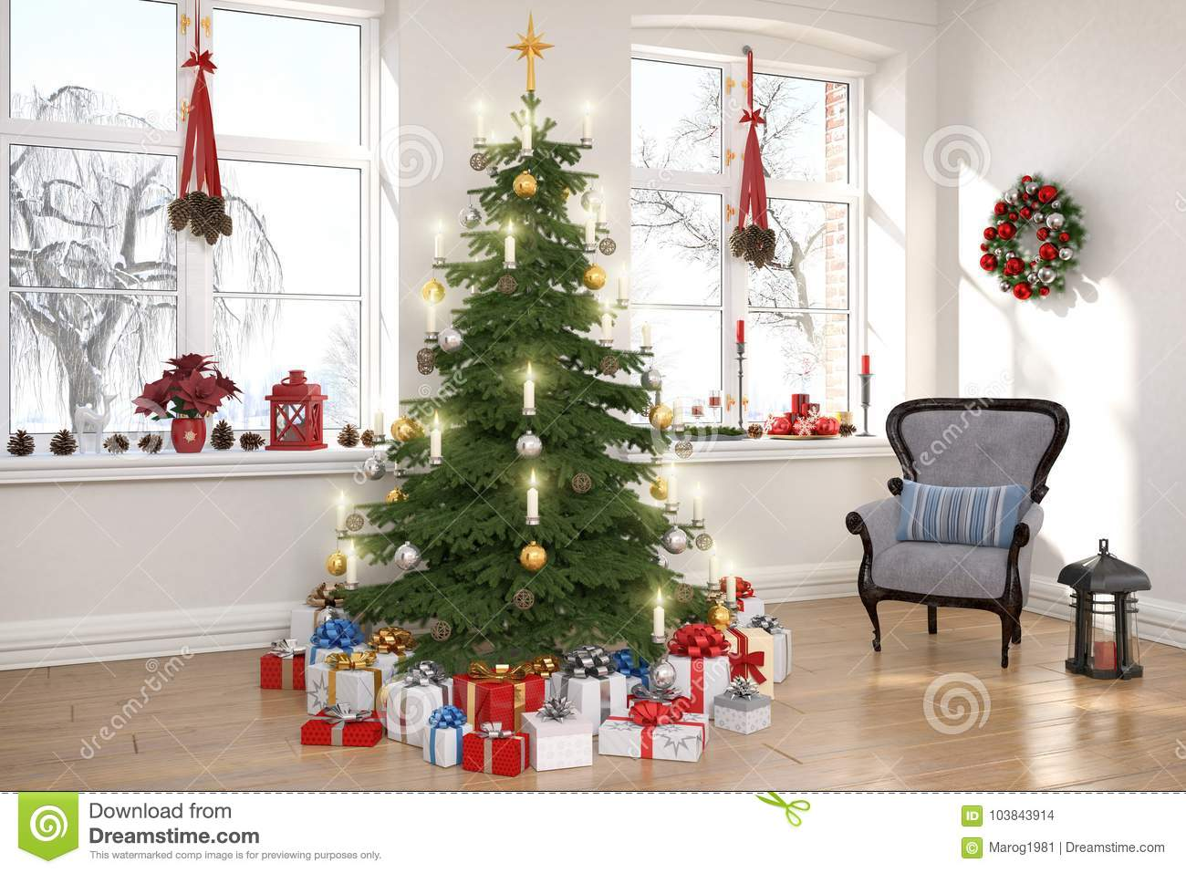 3d render of a nordic living room with christmas tree - Nordic Christmas Tree Decorations