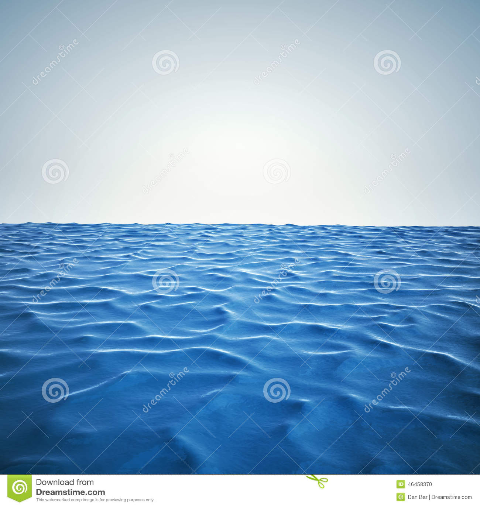 3d render of ocean and beautiful blue sky