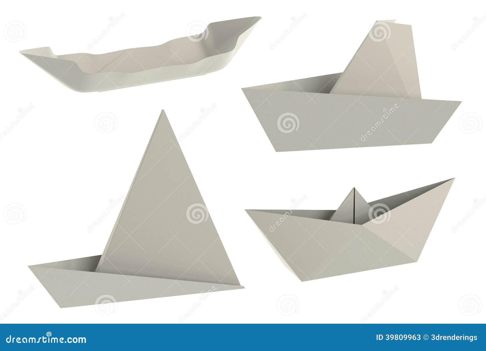 3d render of origami ships stock illustration image