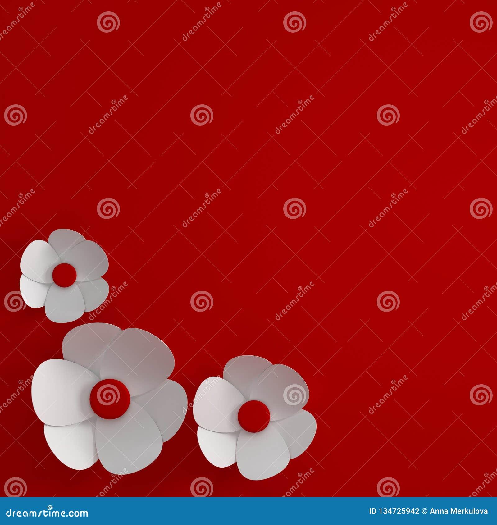 3d Render Paper Flowers Digital Illustration Red Background White Paper Flowers Floral Composition Background Wedding Card Stock Illustration Illustration Of Design Floral 134725942