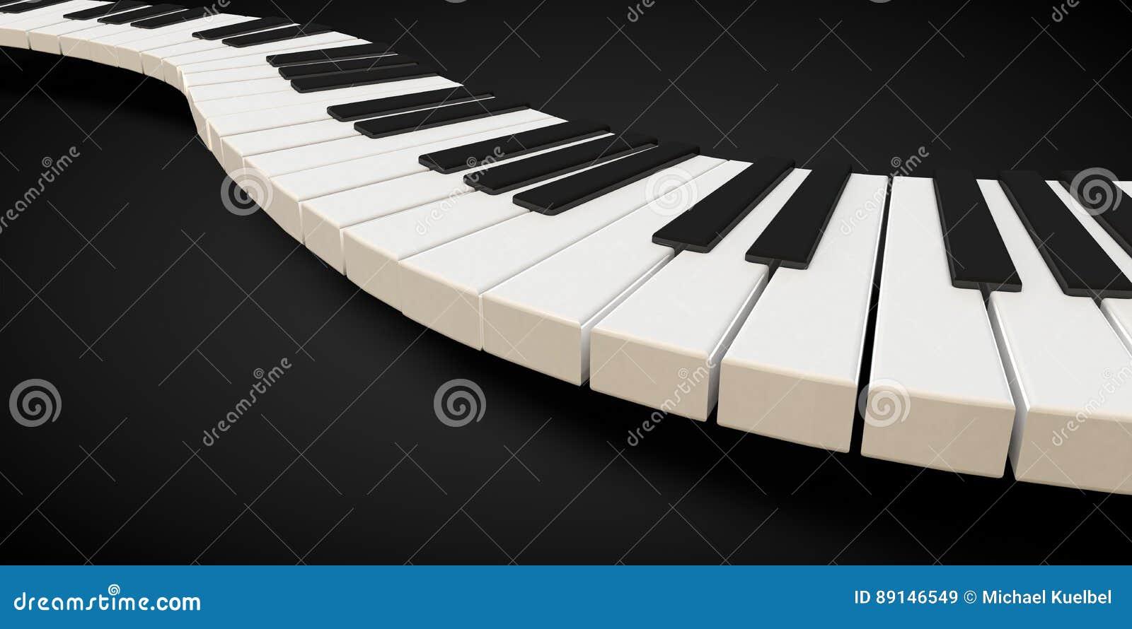 3d render of a piano keyboard in a fluid wavelike movement