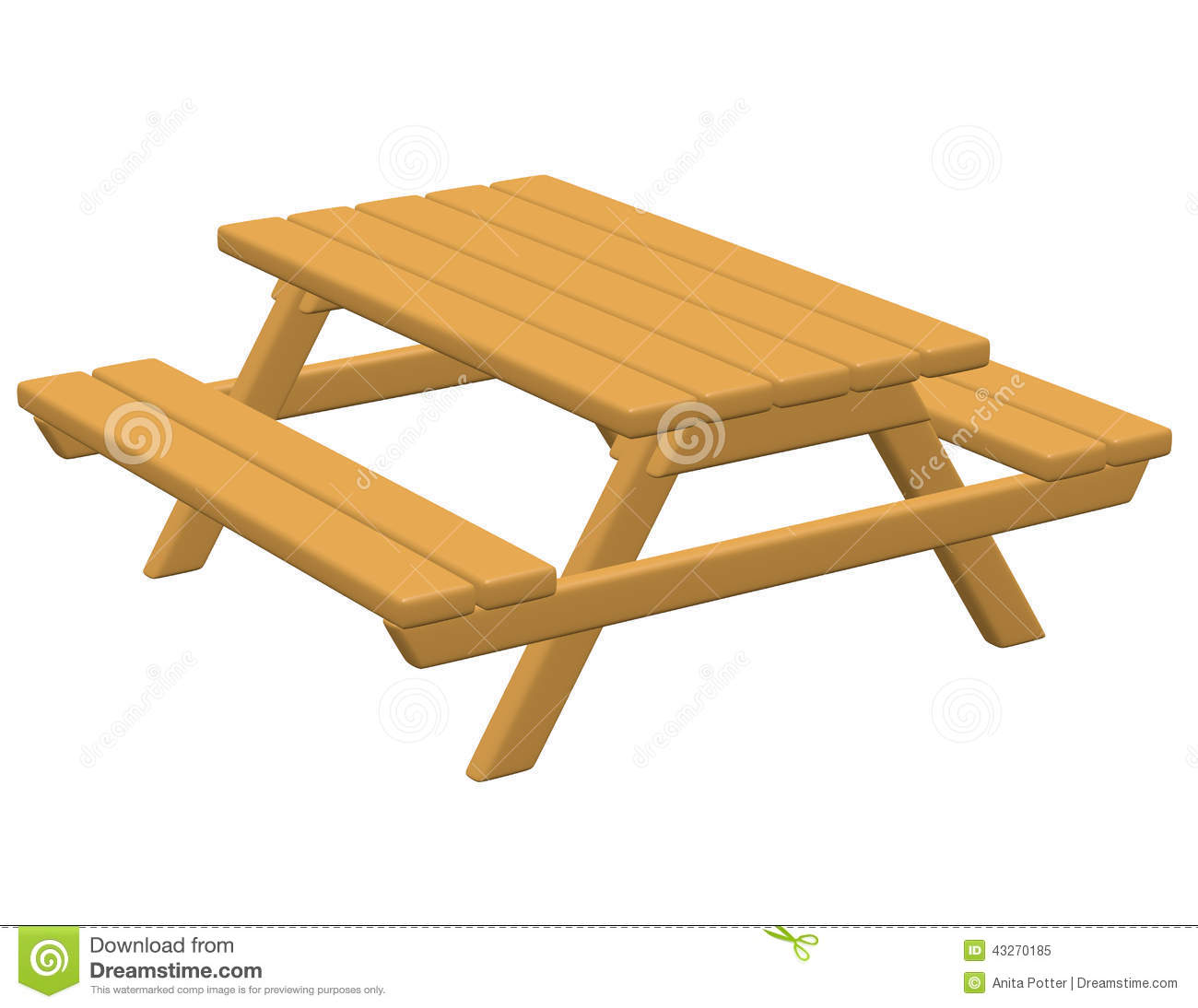 3d Render Of A Picnic Table Stock Illustration - Image ...