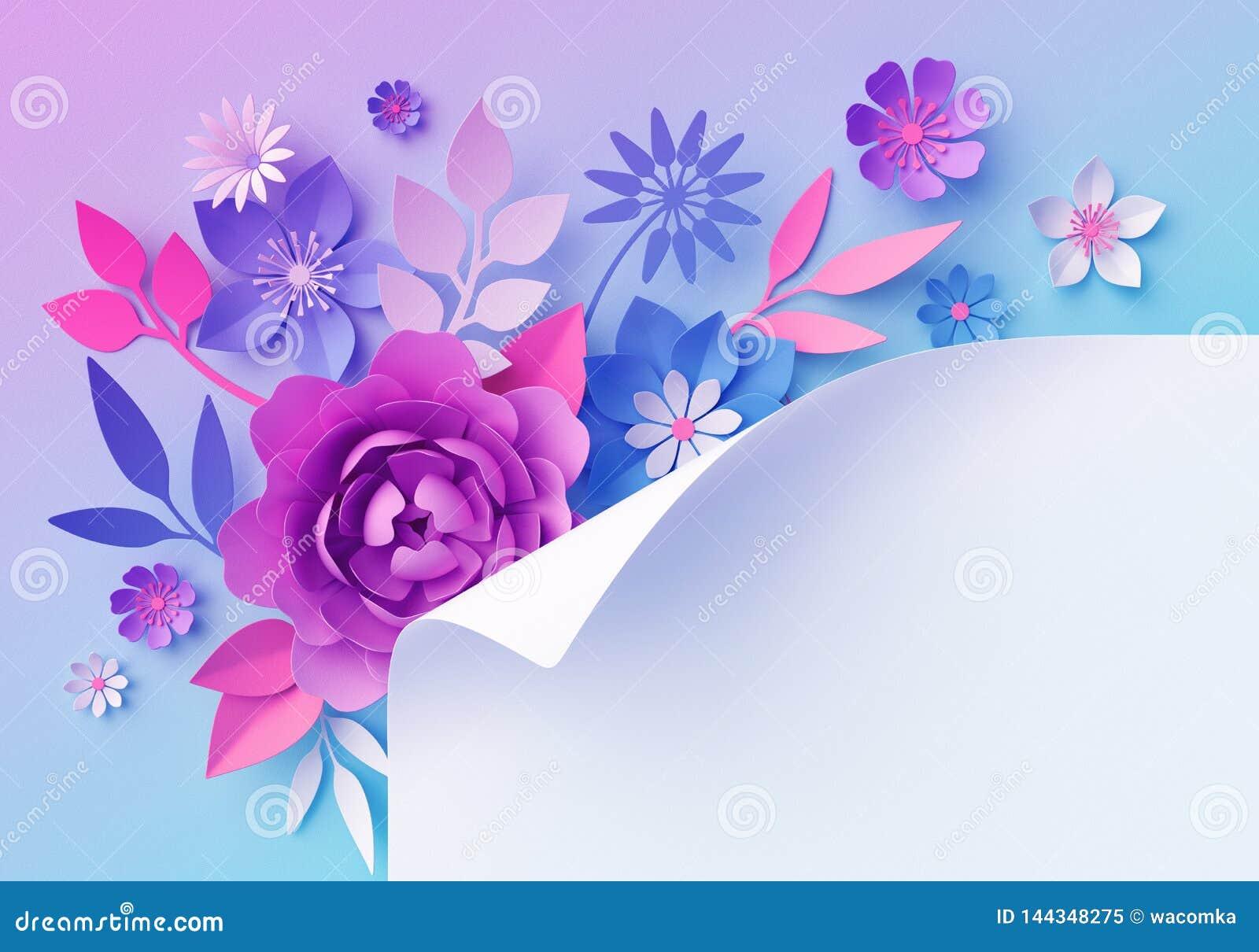 3d Pink Blue Neon Paper Flowers Pastel Color Botanical Wallpaper