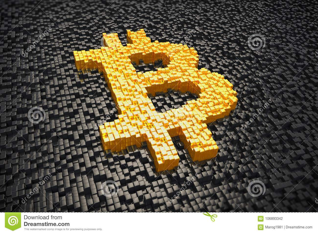 3d Render Pixelated Bitcoin Symbol Made From Cubes Gold Stock