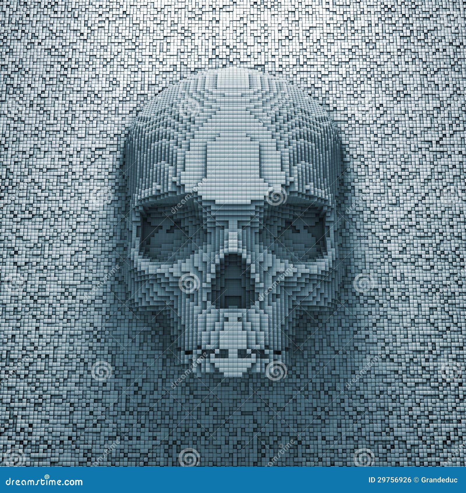 Pixel skull stock illustration  Illustration of bone - 29756926