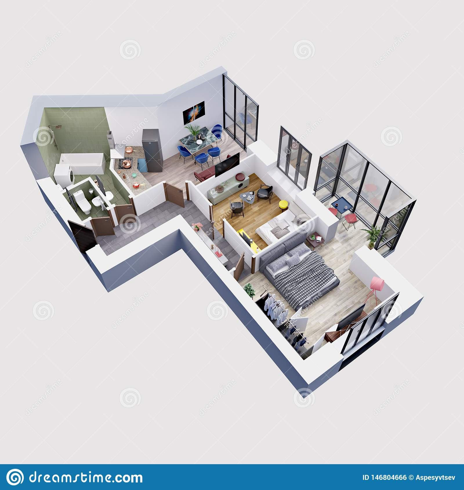 3d Render Plan And Layout Of A Modern Apartment Isometric Stock Illustration Illustration Of Appliances Cushion 146804666
