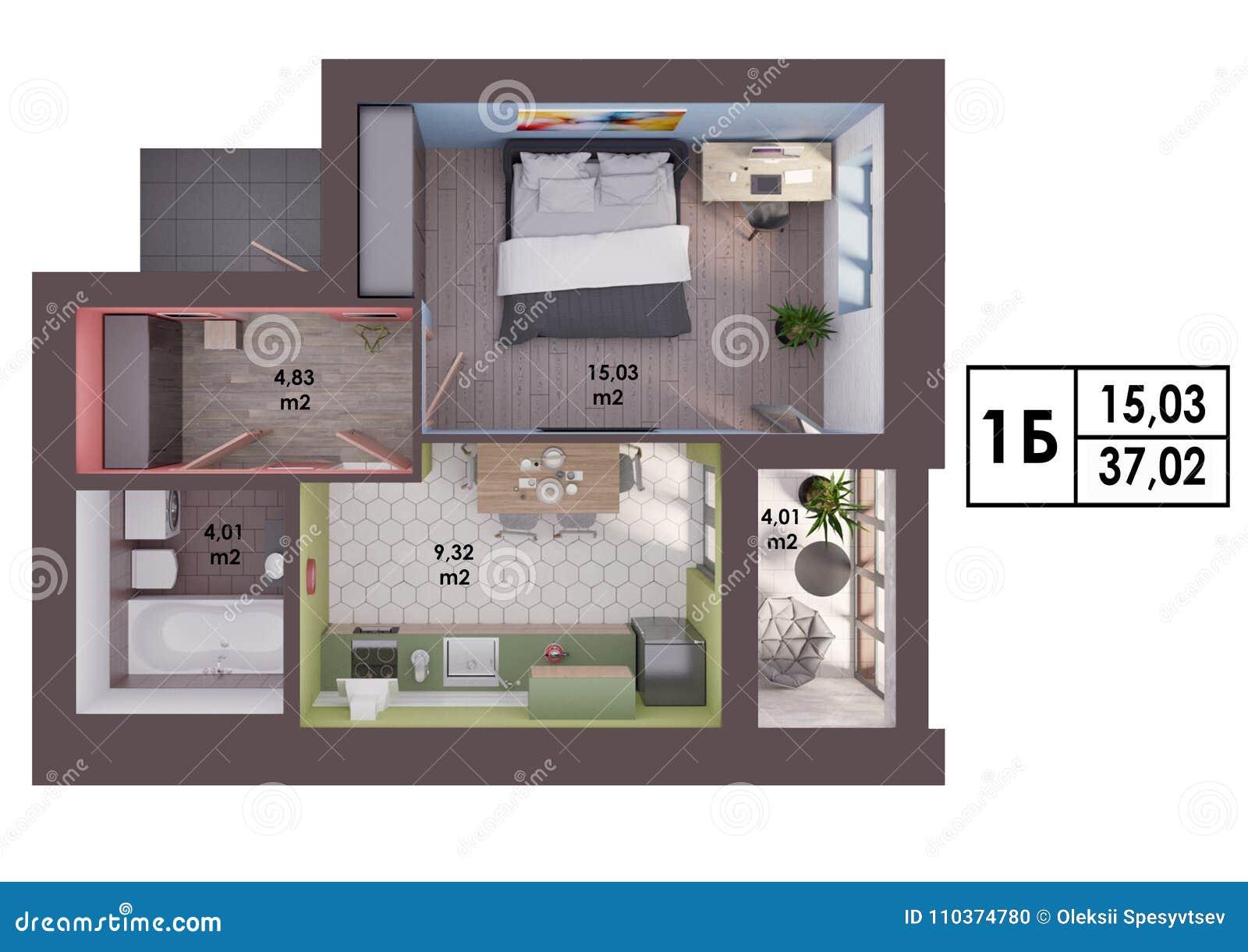 3d Render Plan Layout Of A Modern One Bedroom Apartment Stock Illustration Illustration Of Measurements Flat 110374780