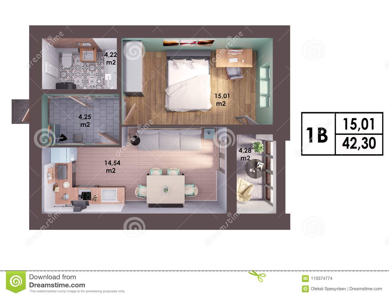 3d render plan layout of a modern one bedroom apartment. Black Bedroom Furniture Sets. Home Design Ideas