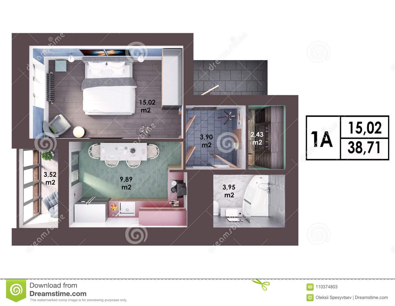 3d Render Plan Layout Of A Modern One Bedroom Apartment Stock