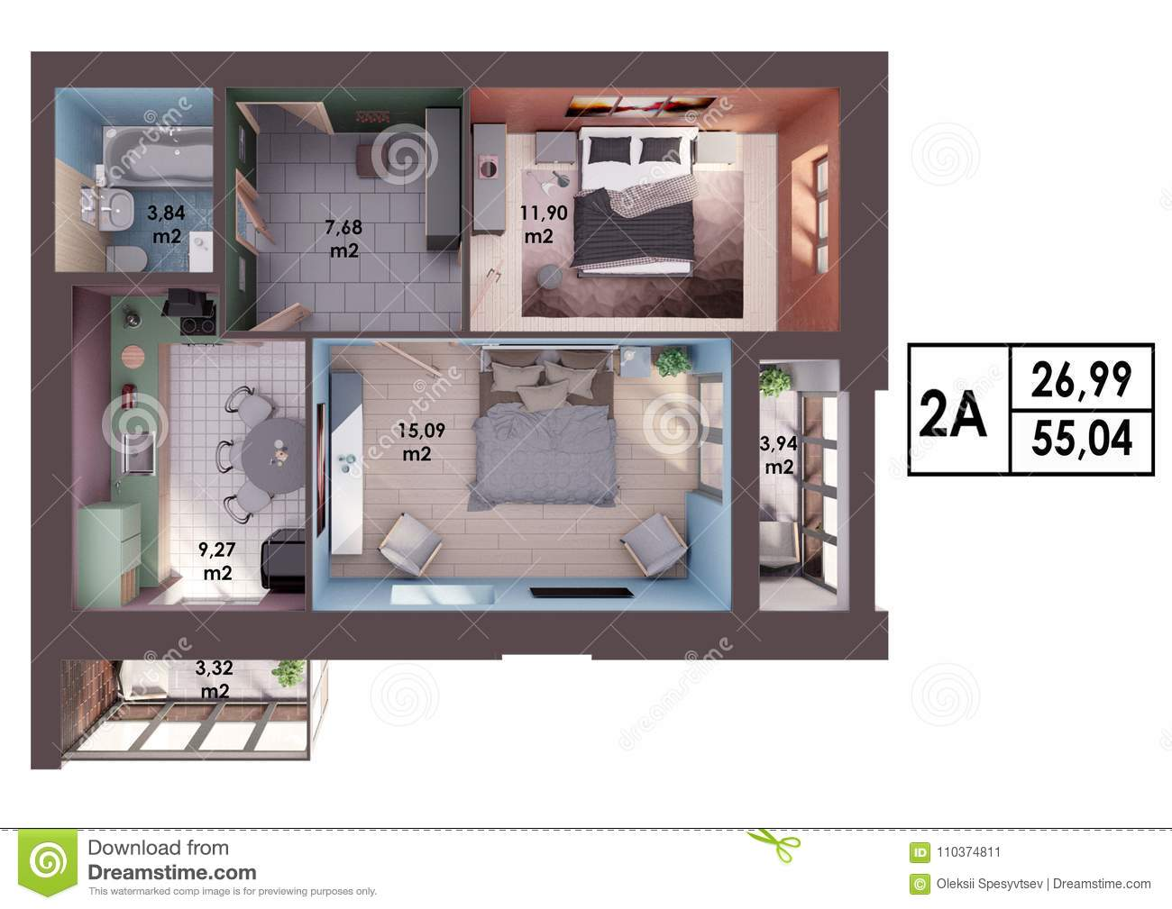3d Render Plan / Layout Of A Modern Two Bedroom Apartment ...