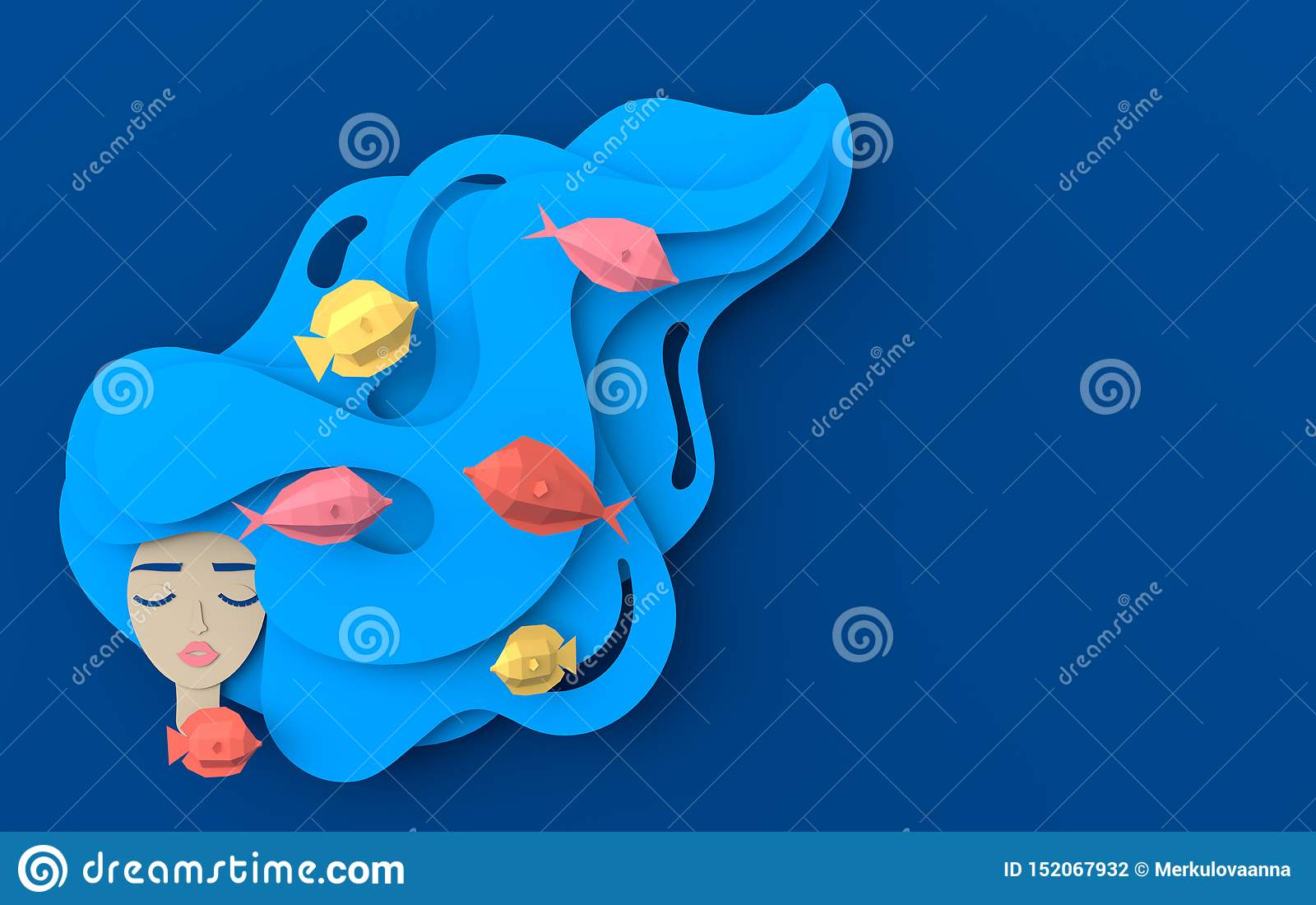 3d render portrait of young beautiful woman mermaid with long wavy hair. Paper underwater sea life with fishes, waves. Paper cut