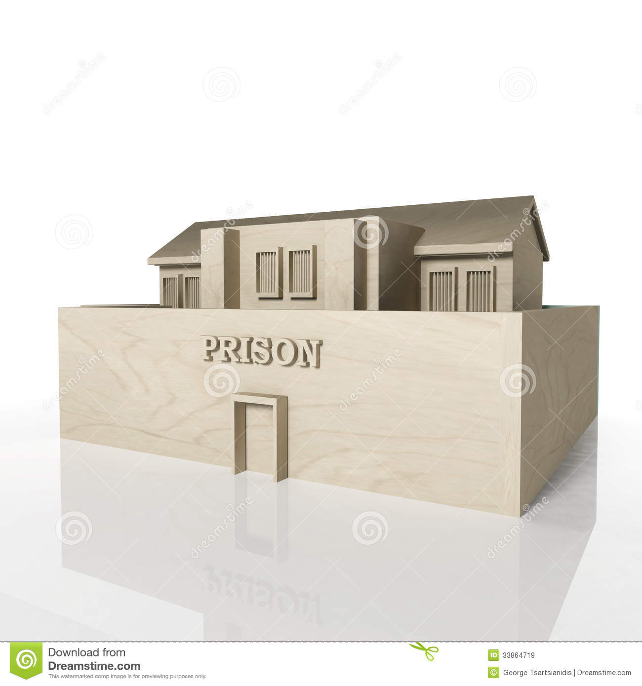 3D Render Of Prison Building With Reflection Royalty Free Stock Images - Image: 33864719