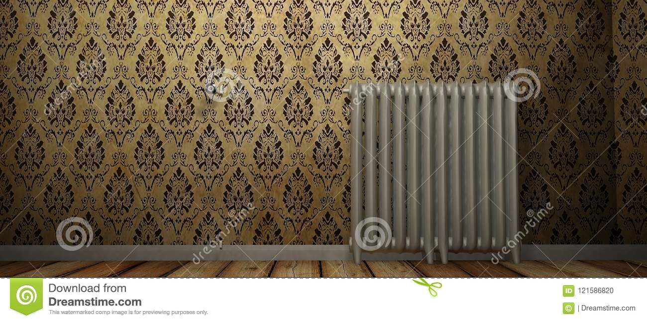 3D render of a radiator on a wood floor and against a damp wall