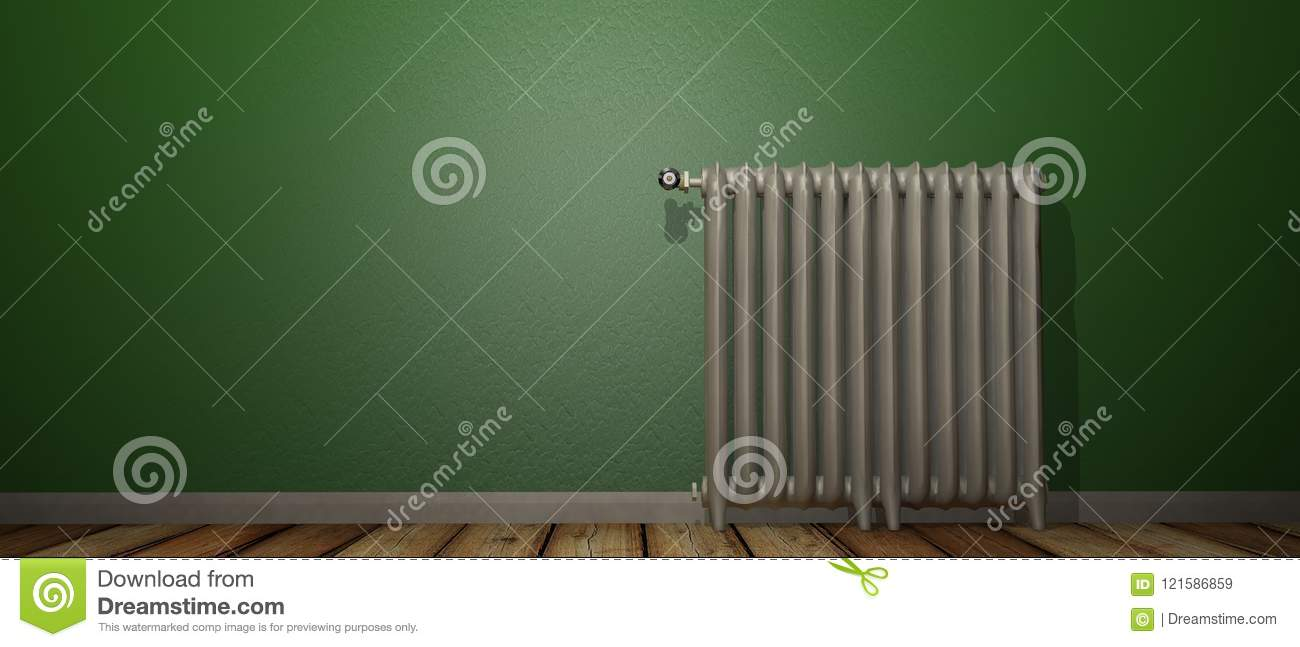 3D render of a radiator on a wood floor and against a green wall