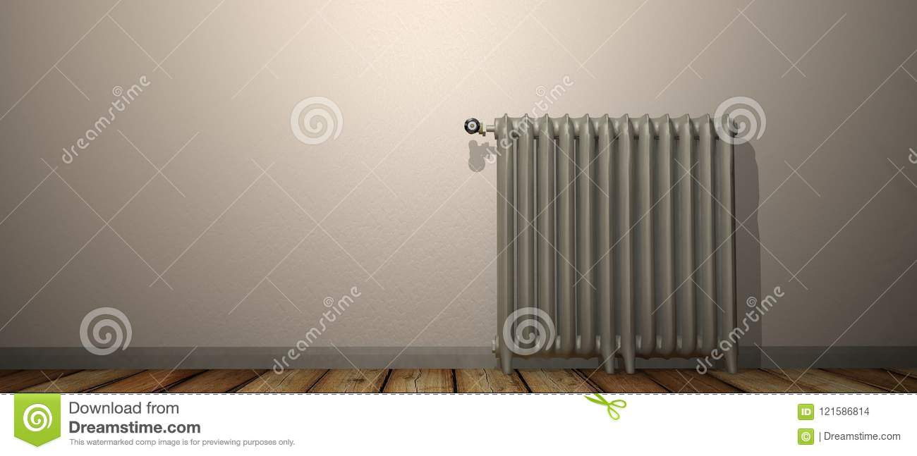 3D render of a radiator on a wood floor and against a white wall