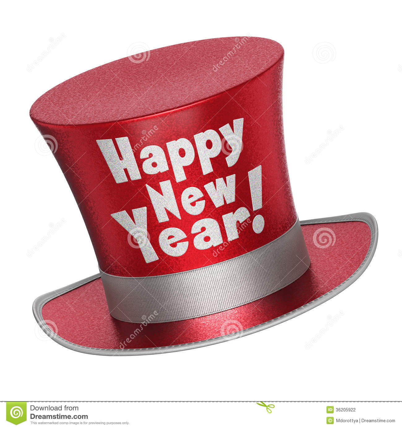 3D render of a red Happy New Year top hat with shiny metallic flakes ...