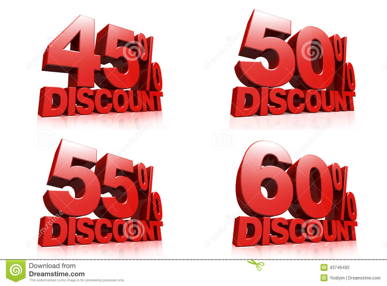 d render red text percent discount white background reflection 43746492