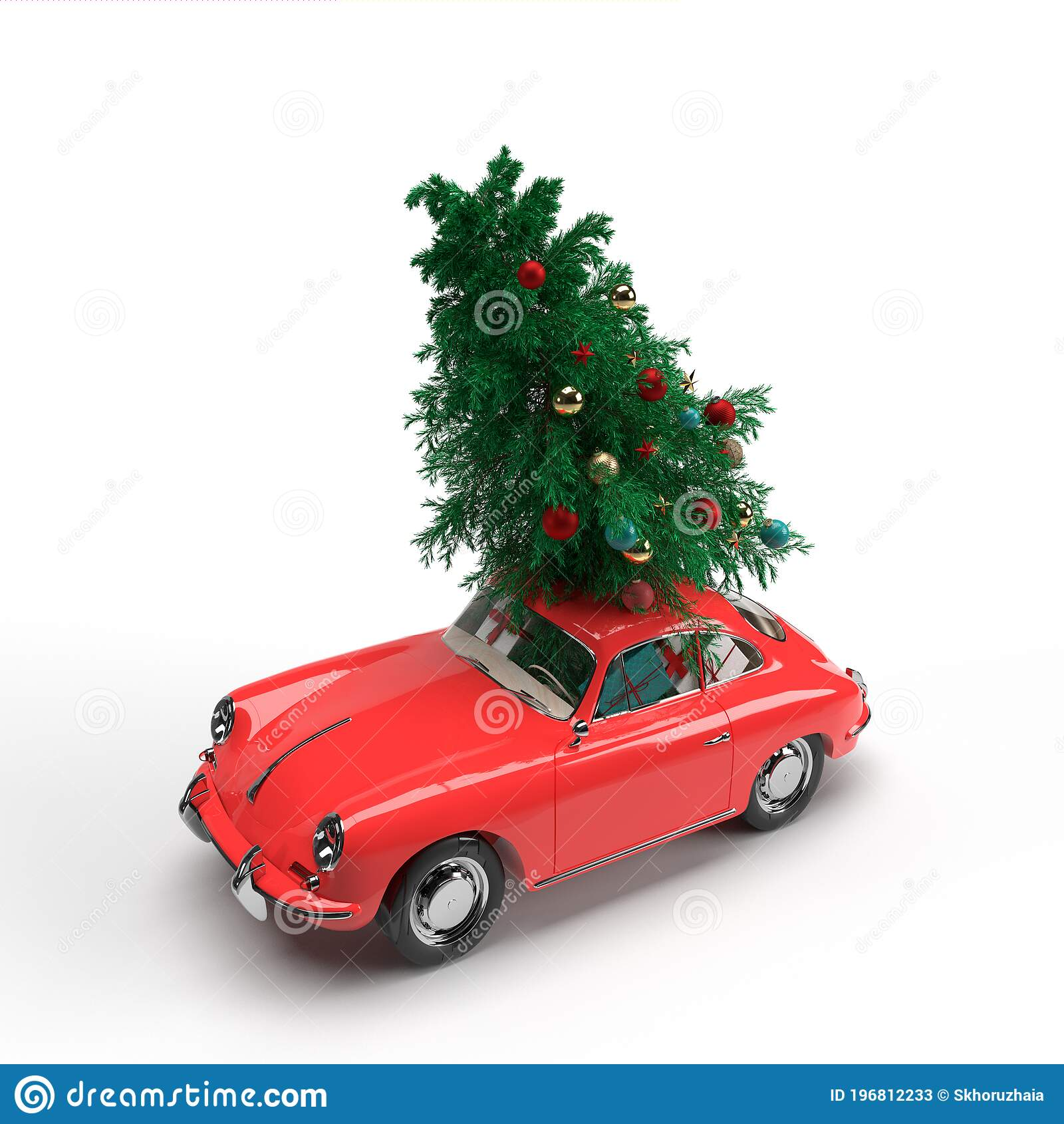 3d Render Red Vintage Car With Christmas Tree And Gifts On White Background Christmas Card Krasnodar 18 July 2020 Stock Illustration Illustration Of Shiny Winter 196812233