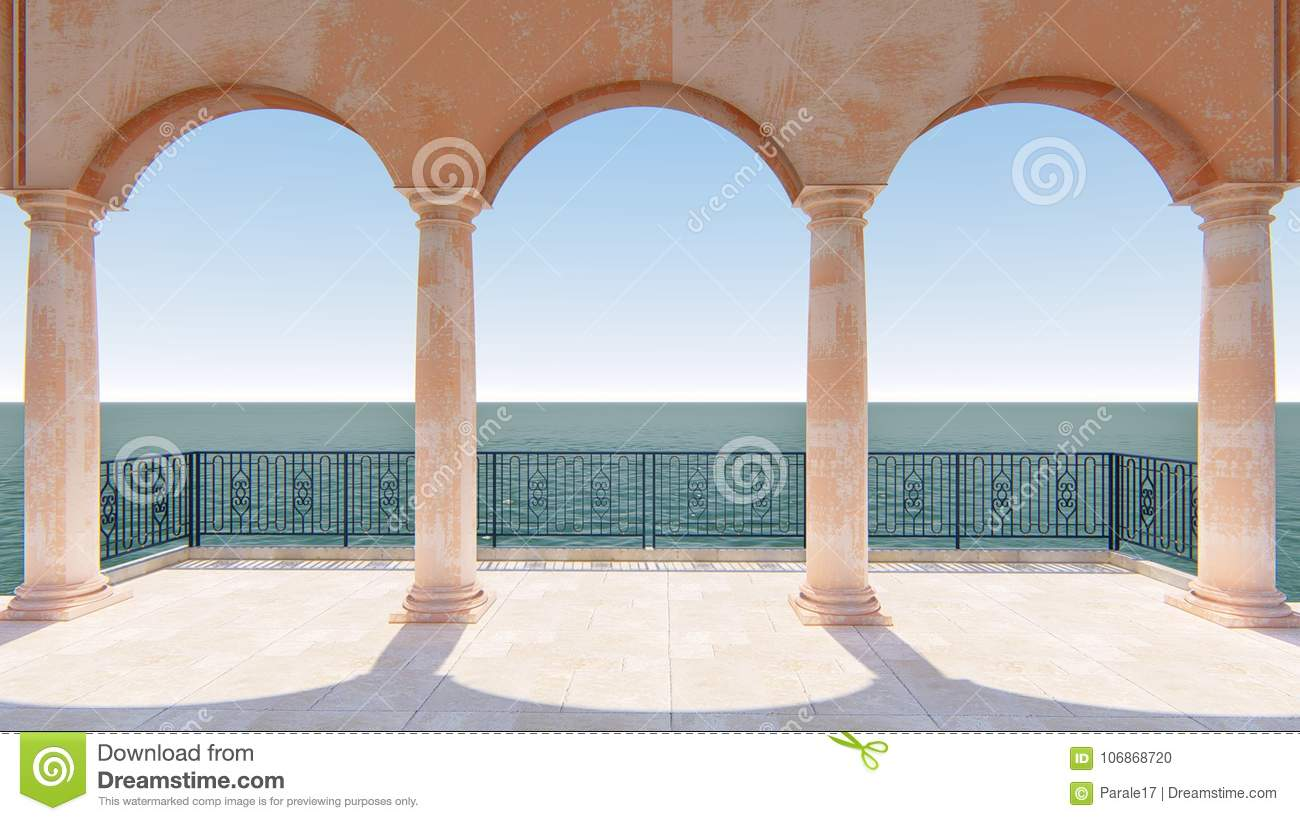 3d render roman balcony classic sea view italy stock illustration3d render roman balcony classic sea view italy