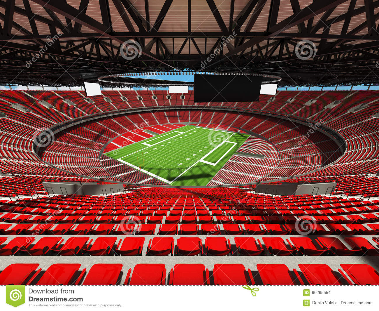 3d render of a round american football stadium with read seats stock illustration