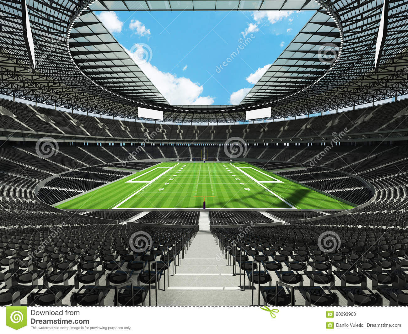 3d render of a round football stadium with black seats stock illustration