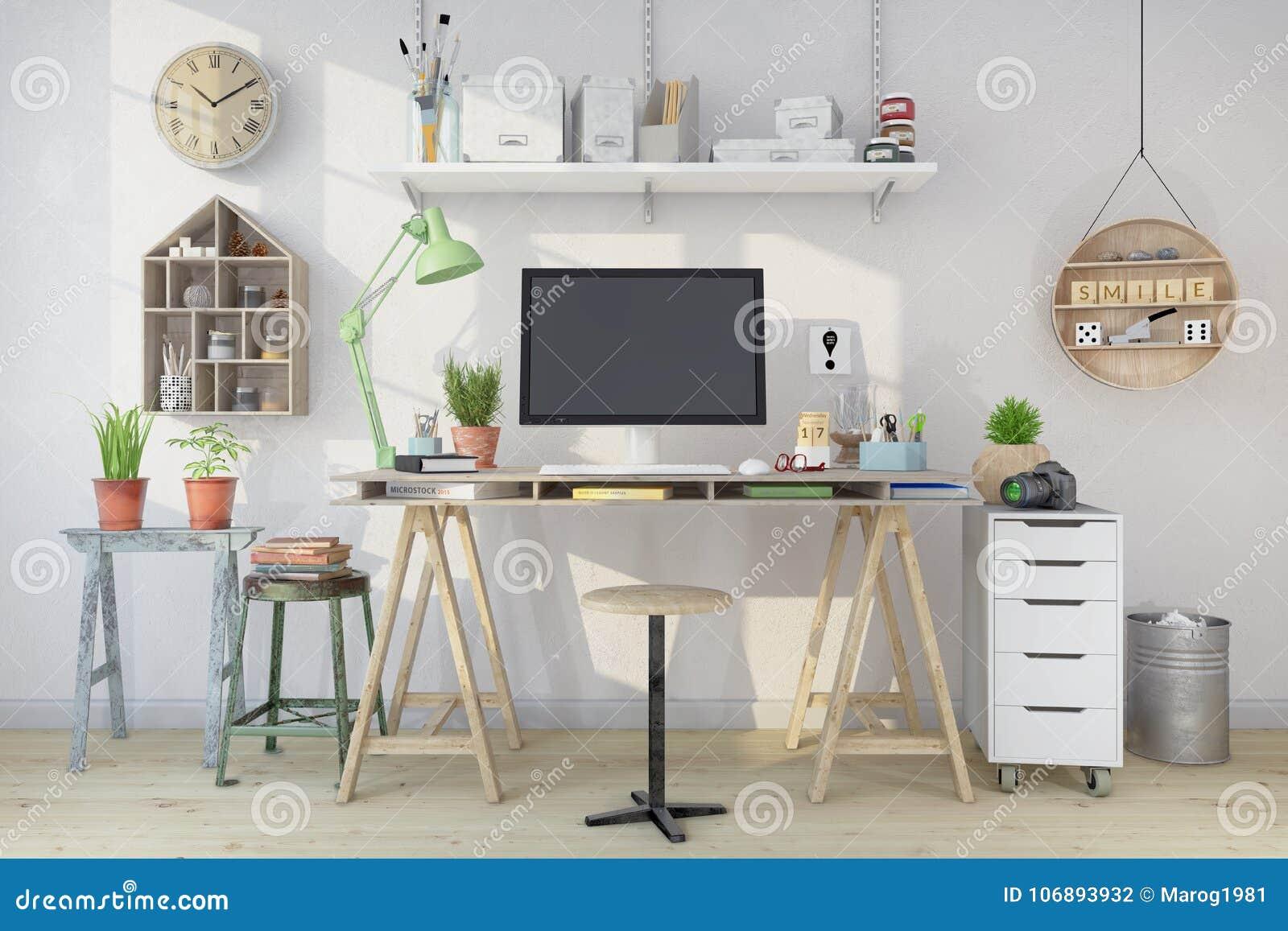Download 3d Render   Scandinavian Nordic Home Office Stock Illustration    Illustration Of Office, Finland