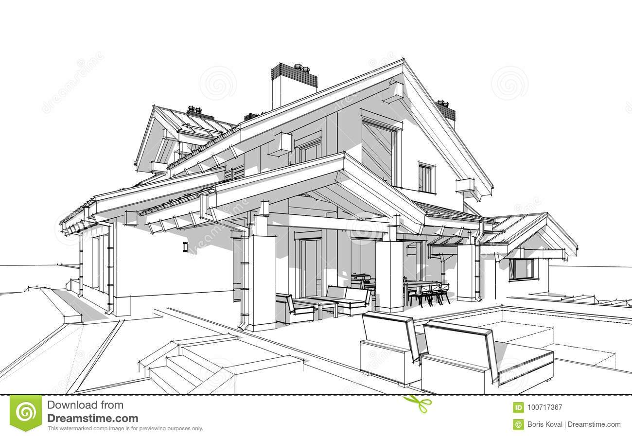 3d render sketch of modern cozy house in chalet style for Chalet style homes for sale