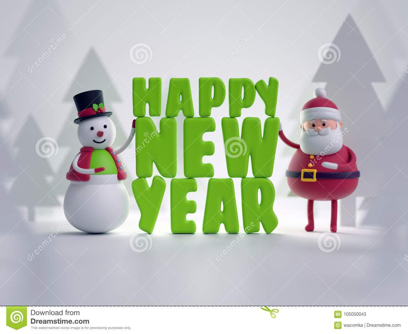 3d render, snowman and Santa Claus, toys, Happy New Year letters