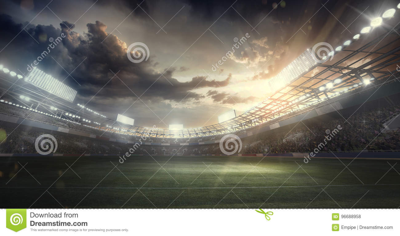 Sport Backgrounds. Soccer stadium. 3d render
