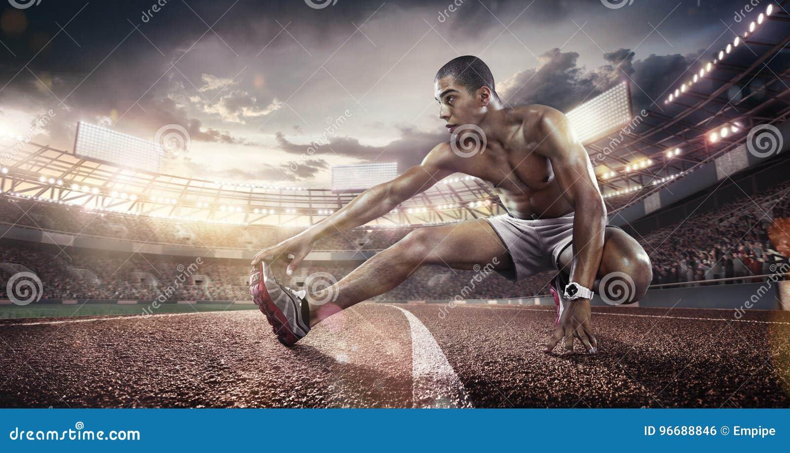 Sport Backgrounds. Soccer stadium and running track. 3d render