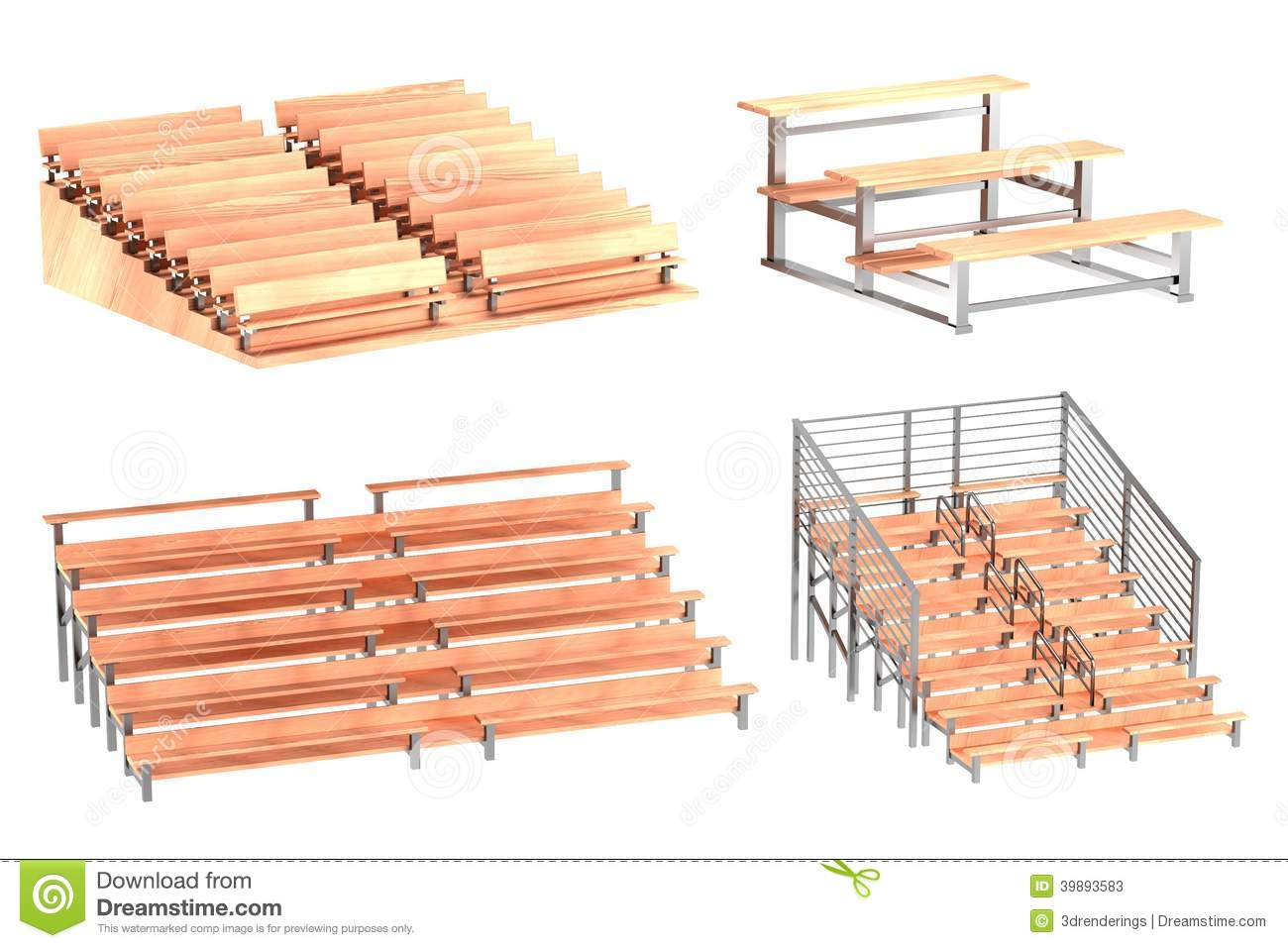 3d render of stadium benches stock illustration - image: 39893583